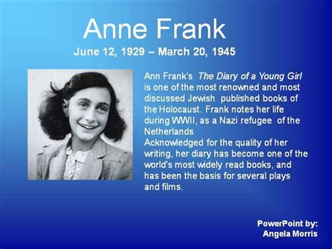 anne frank biography powerpoint anne frank powerpoint authorstream