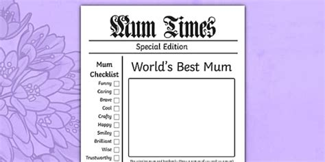mothers card template mothers day newspaper card template mothers day template