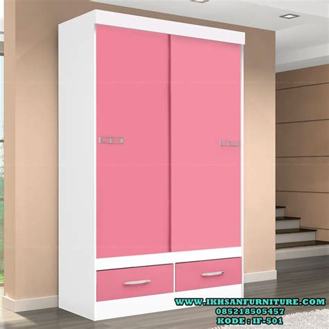 Rel Pintu Geser Lemari Pakaian lemari pakaian anak pink putih model lemari pakaian anak