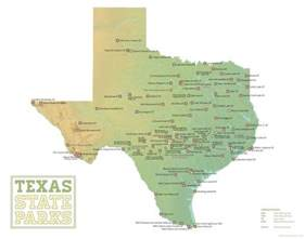 Texas State Parking Map by Texas State Parks Map 11x14 Print
