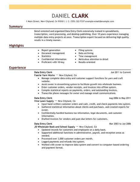 Data Entry Clerk Resume