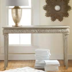 Carved and white painted modern console table in nice living room