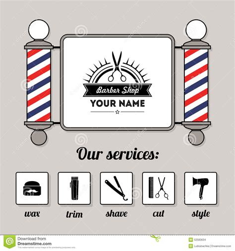 Hair Salon Barber Shop Sign And Services Design Template Stock Vector Image 52583634 Sign Design Template