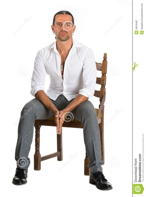 White Sitting Chair Handsome Sitting On A Chair Royalty Free Stock