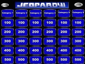 Jeopardy Powerpoint Smartboard Template Templates Jeopardy Powerpoint Template 6 Categories