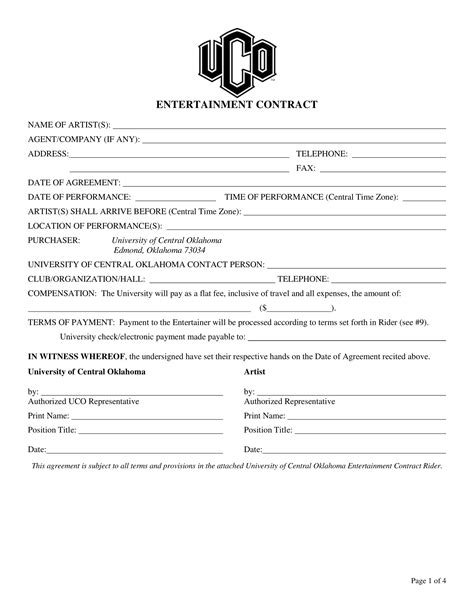 entertainment contract template 3 entertainment contract forms pdf