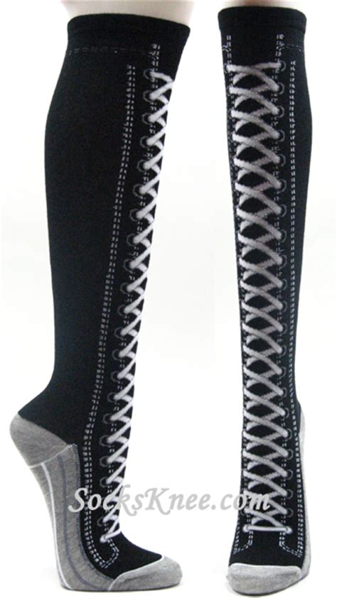 black lace up boots design high knee socks