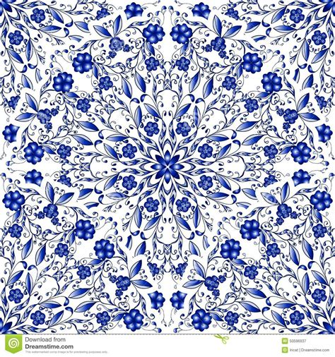 china blue pattern vector seamless floral pattern of circular ornaments light blue
