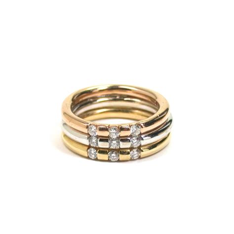 roberto coin tri color band ring with diamonds