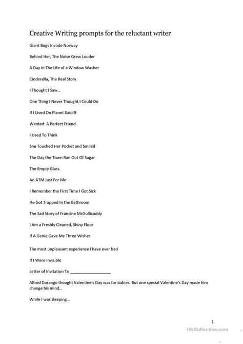 printable journal prompts for adults creative writing prompts worksheet free esl printable