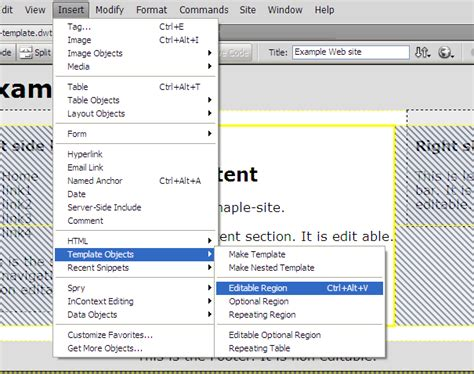 dreamweaver edit template make a template in dreamweaver