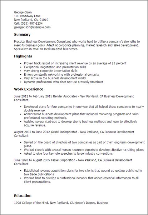 Resume Summary Exles Business Development Professional Business Development Consultant Templates To Showcase Your Talent Myperfectresume