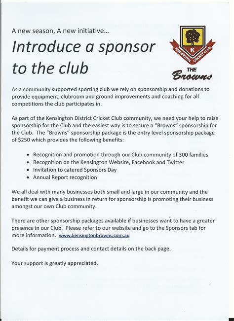 Sponsorship Letter Cricket Club B Grade Kensington District Cricket Club