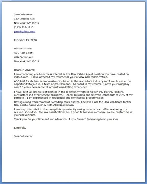 real estate cover letter examples resume downloads