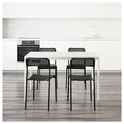 Melltorp Table by Melltorp Adde Table And 4 Chairs White Black 125 Cm