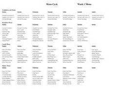 cacfp menu template cycle menu template cacfp weekly menu planning doc