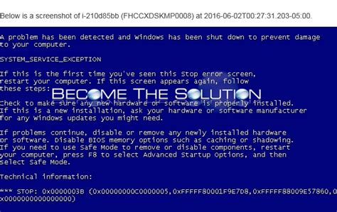 fix system service exception error windows