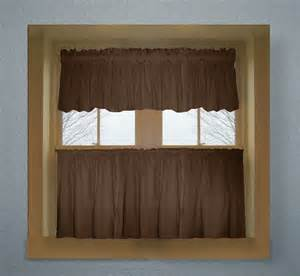 Kitchen Valances Curtains Brown Color Tier Kitchen Curtain Two Panel Set