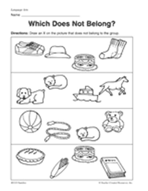 What In This Picture Does Not Belong by Which Does Not Belong Printable Pre K 1st Grade