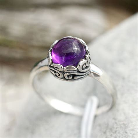 Cincin Perak 925 Sterling Silver 925 Fashion Wanita india bali retro jewelry handmade 925 sterling silver carved ring setting amethyst
