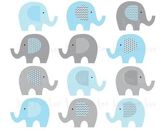 modern baby elephant clipart collection