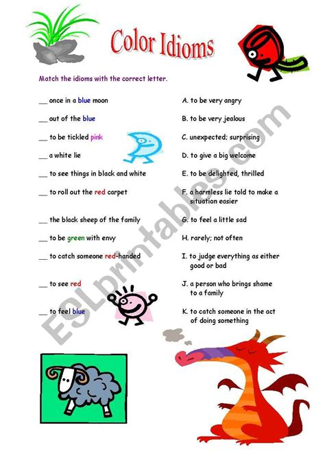 color idioms color idioms esl worksheet by graced