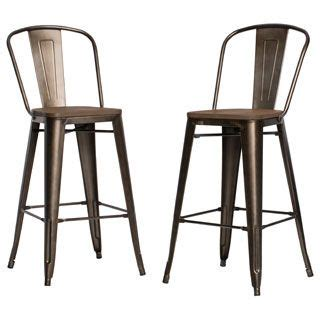 Tabouret Bistro Wood Seat Gunmetal Finish Bar Stools by Tabouret Bistro Wood Seat Gunmetal Finish Bar Stools Set