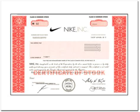 gift nike stock | real ownership + stock certificate in