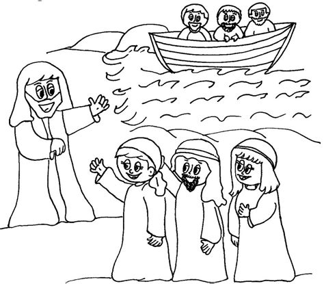 coloring pages of jesus and his disciples jesus calls his disciples coloring page printable