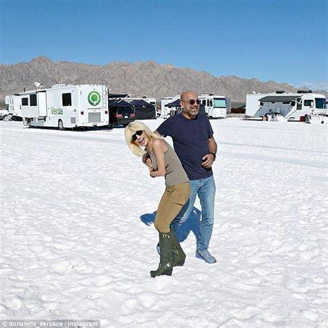 Wedges Donatello gigi hadid strikes a pose on a mountain of salt for