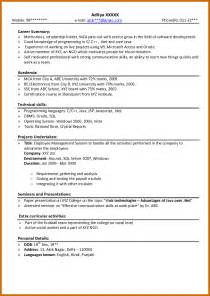 Job Resume Format For Freshers by 8 How To Write Cv For Fresher Lease Template