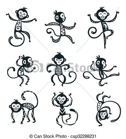 how to draw new year monkey vectors of new year monkey vector decoration icons