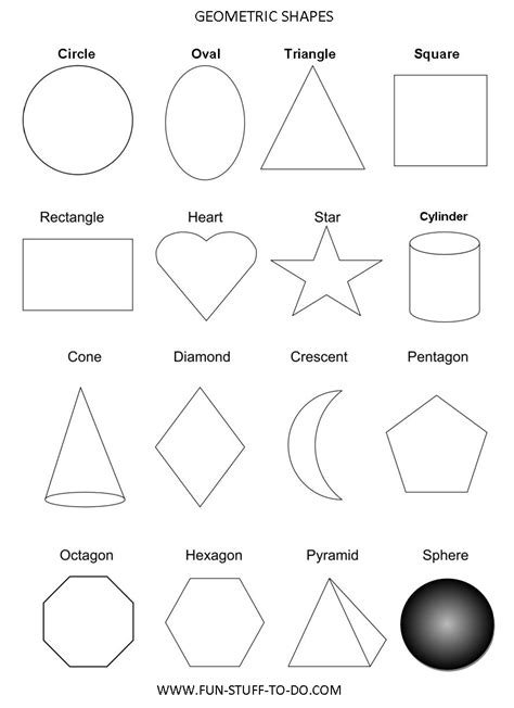 Geometric Shapes Worksheets Free To Print Basic Shapes Coloring Pages