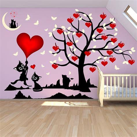 Stickers Deco Chambre Fille stickers chambre fille arbre et chats o 249 les coeurs