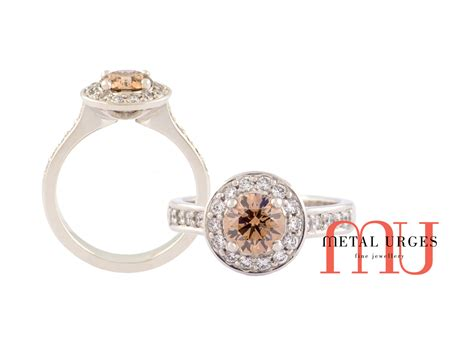 chagne engagement rings cluster set melbourne