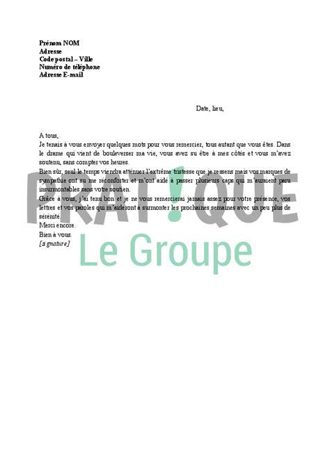 Exemple De Lettre Famille Lettre De Remerciements 224 Sa Famille Apr 232 S Un D 233 C 232 S Pratique Fr