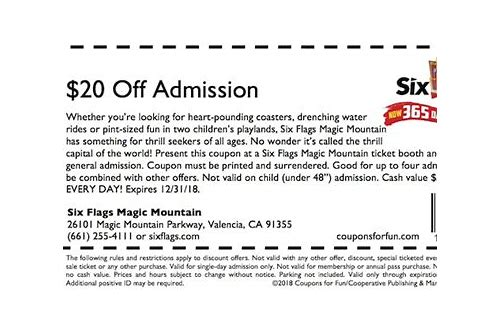 six flags magic mountain california coupons