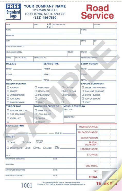 printable tow truck receipt template towing invoice template invoice template ideas