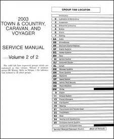 2003 Chrysler Town And Country Owners Manual 2003 Minivan Repair Shop Manual Original Town Country