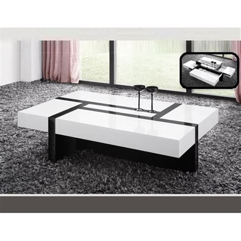 storage coffee table in white and black gloss with draw