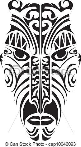 eps vectors of maori mask maori mask in black and white