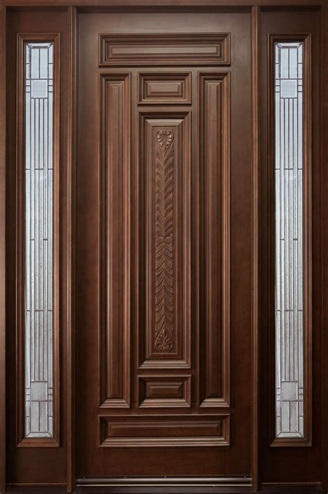 Wood Front Door Designs Front Door Custom Single With 2 Sidelites Solid Wood With Mahogany Finish Classic