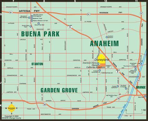 anaheim california map map of anaheim buena park garden grove