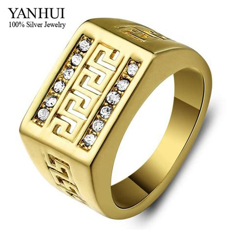 yanhui brand real  gold filled classic men ring