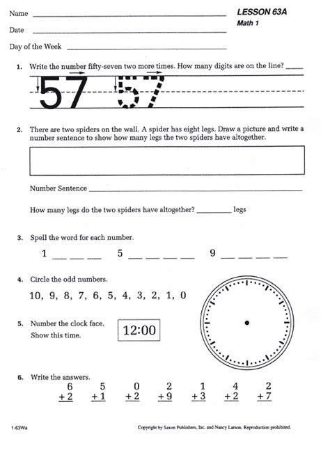 Saxon Math Worksheets by Saxon Math 1 Homeschool Kit 1st Edition Bookshark