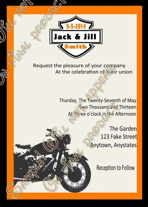 Harley Davidson Invitations by Harley Biker Wedding Invitations Motorcycle Invitations U