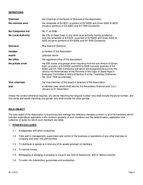Template Memorandum Of Incorporation Memorandum Of Incorporation Approved 26 11 13