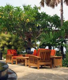 mission patio furniture mission style teak sofa set traditional outdoor lounge