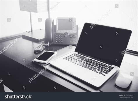 laptop office desk office deskoffice workplace laptop smart phone stock photo