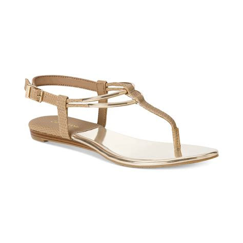 klein sandals calvin klein serenity flat sandals in gold desert